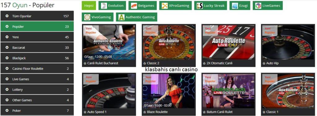 klasbahis canlı casino oyunları